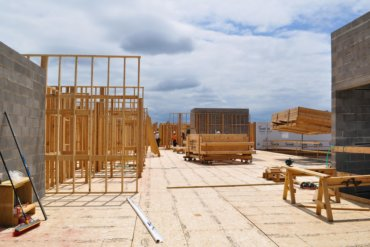 Walls of residential units being constructed on the fourth floor of Building D.
