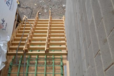 A view looking down the (soon to be) front steps of Building D
