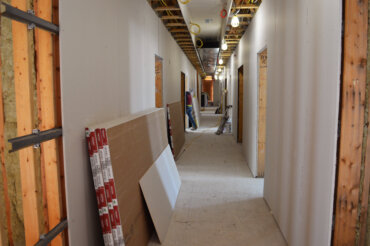 A view down the main hallway on the second floor of Building D.