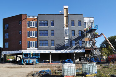 The southern end of Building D, which will include retail tenants on the first floor.