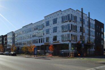 A view of Building E along S. Union.