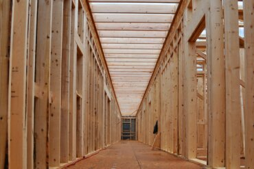 Framing is in place on the third floor hallway of Building B