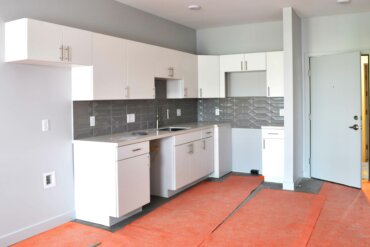 The kitchen of unit 1C, a one bedroom one bath apartment.