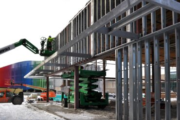 The framing of Building C is being complete. This is the side of the building, which will be for retail tenants.