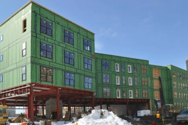 Progress continues on the exterior of Building B