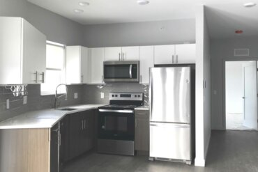 The kitchen of this one-bedroom, one-bath apartment (Unit 1D) is nearly complete.