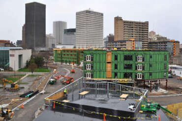 downtown from the rooftop deck of Building D. You can also see the Buildings A, B, and C looking up what will be Adventure Way.