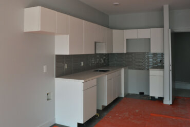 Work is well underway on the kitchen of this 1-bedroom apartment (Unit 1-C in Building B).