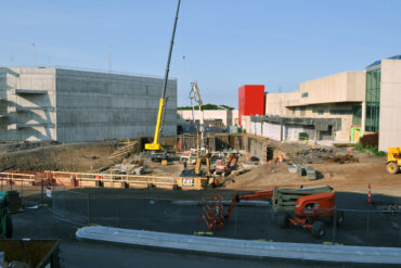 A view of the Strong National Museum of Play's new expansion as seen from Building B at VIDA