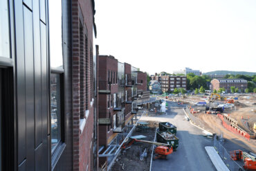 A view of Adventure Way from a balcony in Building B.