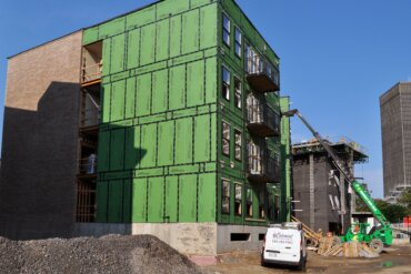 Brickwork is complete on the exterior of Building A