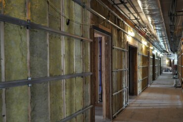 Drywall is about to be installed in this 2nd floor hallway in Building B