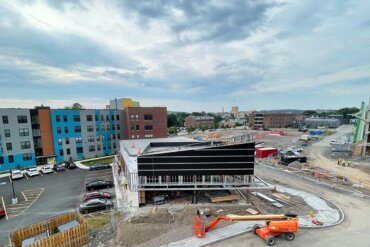 Building C, which will be entirely devoted to retail space, as seen from the 4th floor of Building B.