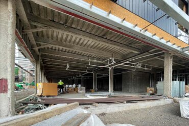 This first-floor area of Building B will be devoted to retail businesses.