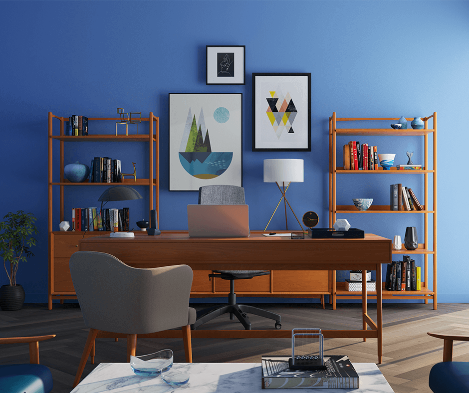 Three pieces of art hung above a desk.Photo credit: Huseyn Kamaladdin